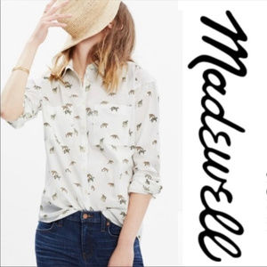 MADEWELL ANIMAL PRINT BLOUSE ~ L ~ LEOPARD / CAT